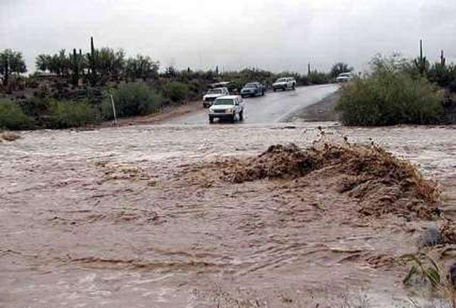 مسدود شدن جاده چرام-یاسوج براثر باران